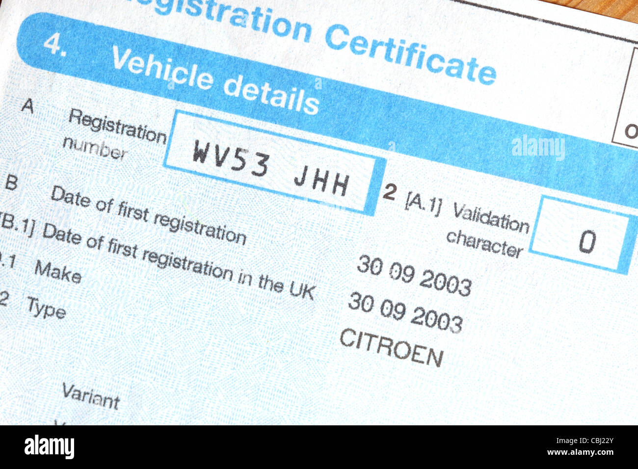V5c Vehicle Registration Certificate Dvla Car Document Stock Photo