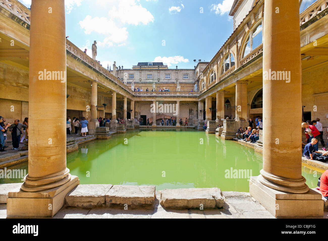 Visitors And Tourists At The Bath Abbey And Roman Baths, Bath Spa .