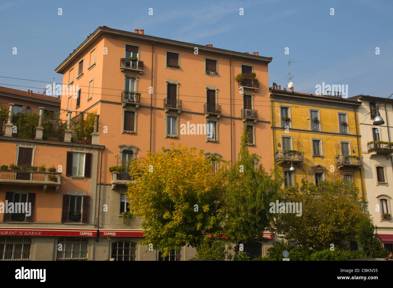Houses along Via San Marco street Brera district central Milan Stock ...