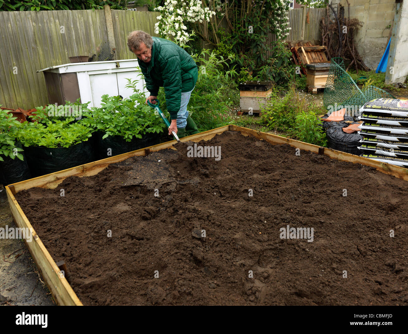 Man Mixing The Soil In The Raised Bed In Garden Surrey