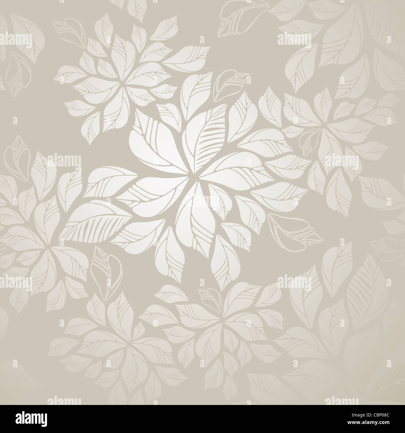 Seamless Grey Silver Leaves Foliage Wallpaper Pattern
