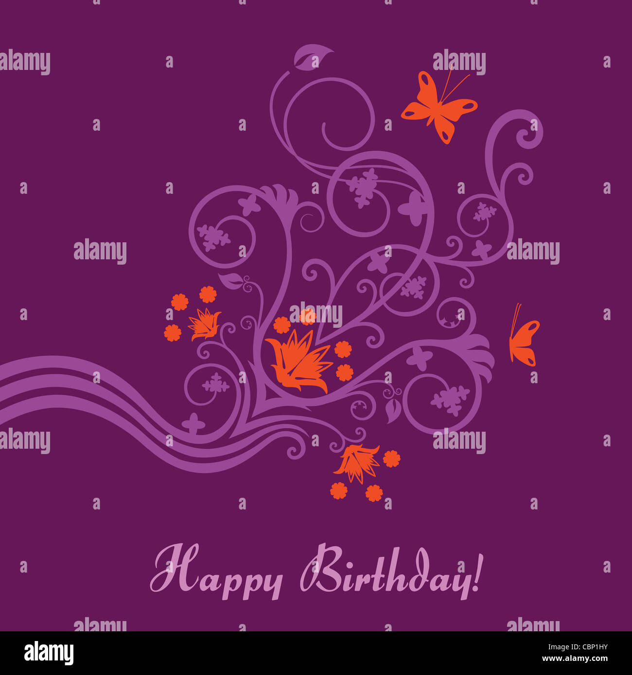 Purple pink and orange flowers swirls and butterflies happy purple pink and orange flowers swirls and butterflies happy birthday card dhlflorist Gallery