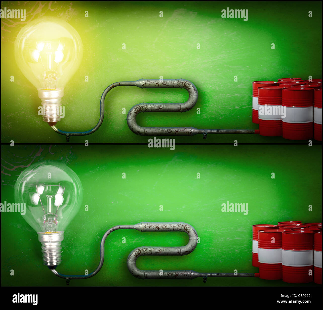 Off and on electricity lamp connected by a pipe with gasoline off and on electricity lamp connected by a pipe with gasoline barrels economy concept of the electricity cost biocorpaavc Choice Image