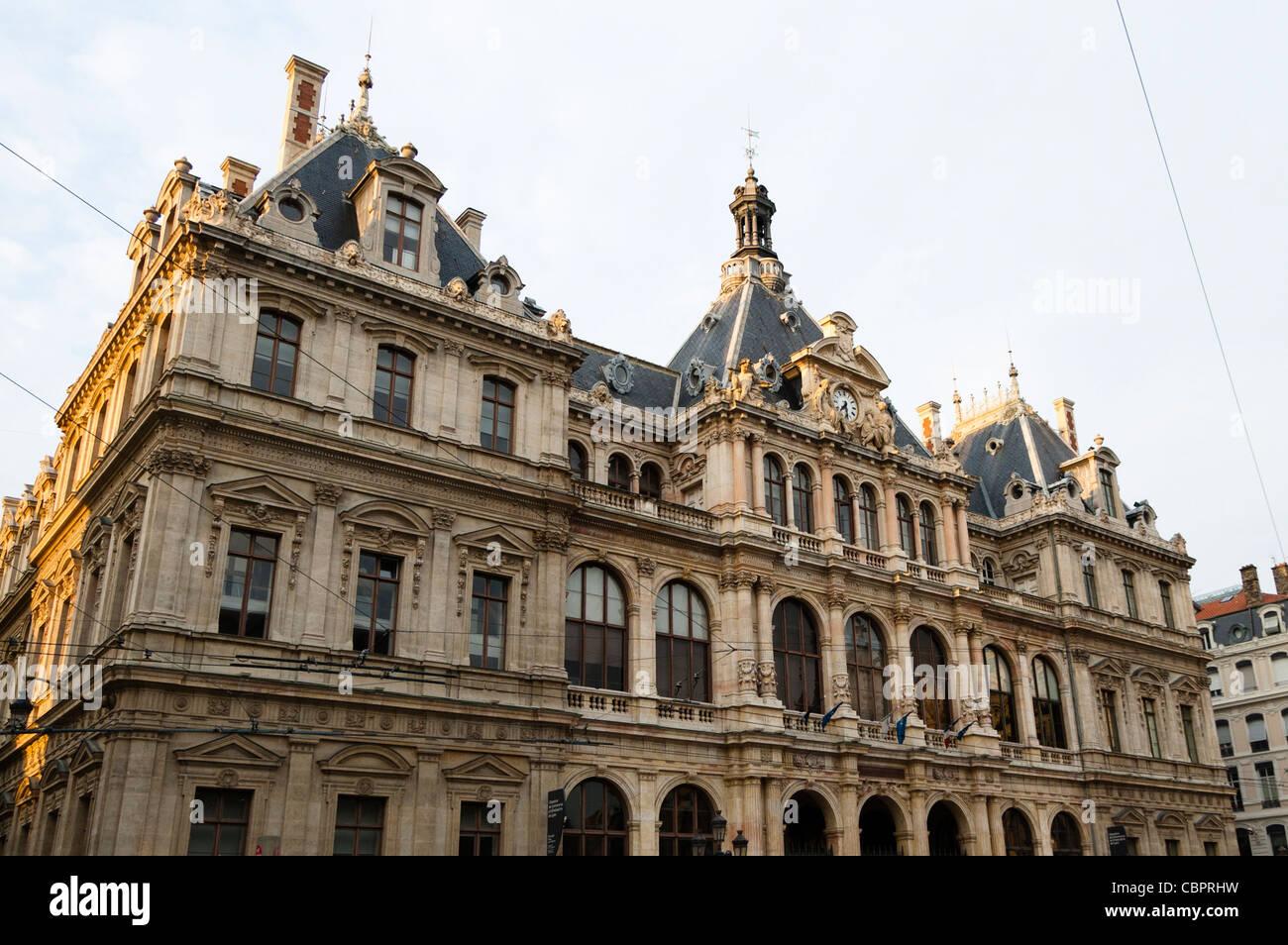 lyon, france: palais de la bourse, home to the chambre du commerce