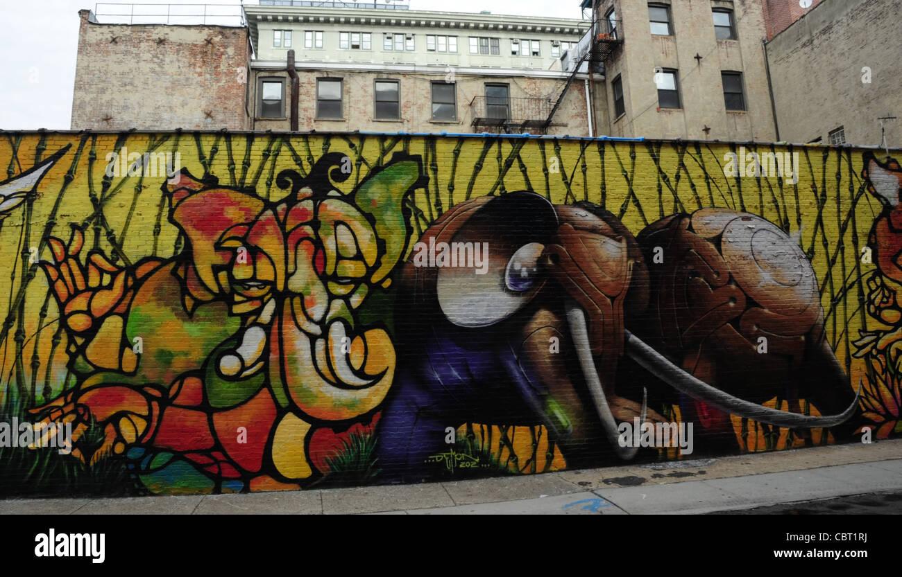 Graffiti wall painting -  303 Collectives Urban Graffiti Wall Painting Life Message Angels Elephants Water Street Brooklyn Dumbo New York