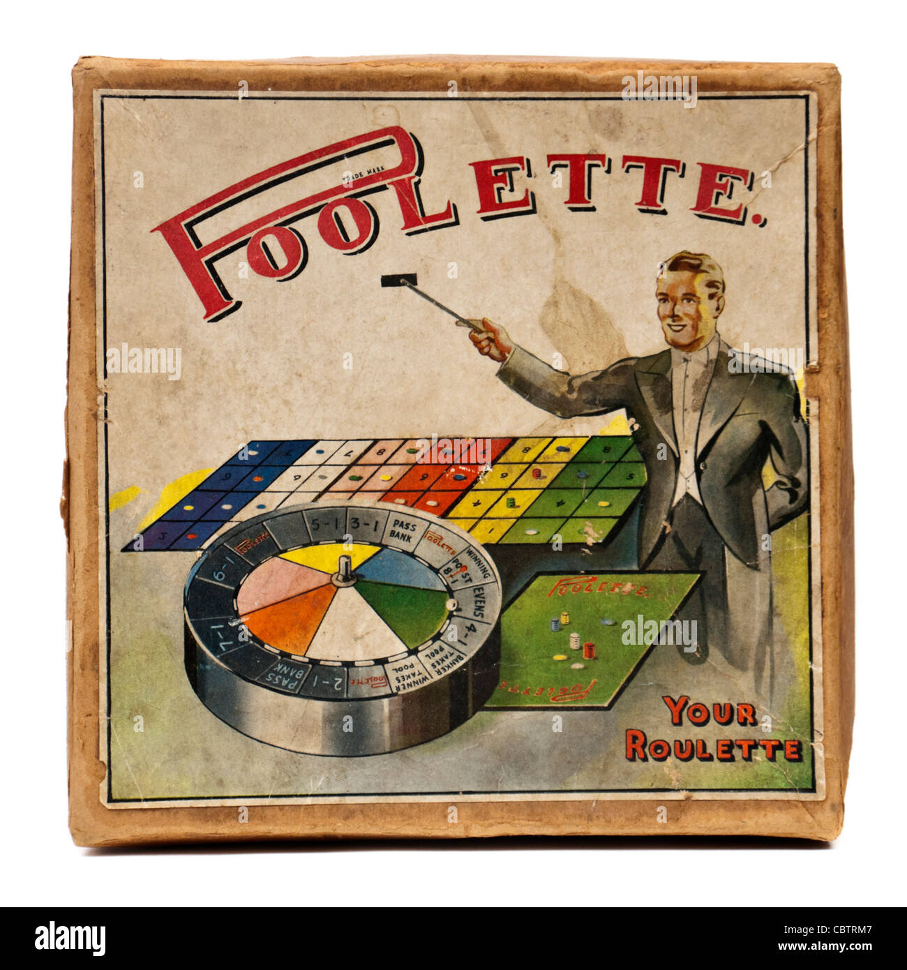1930 39 s vintage poolette roulette board game stock photo. Black Bedroom Furniture Sets. Home Design Ideas