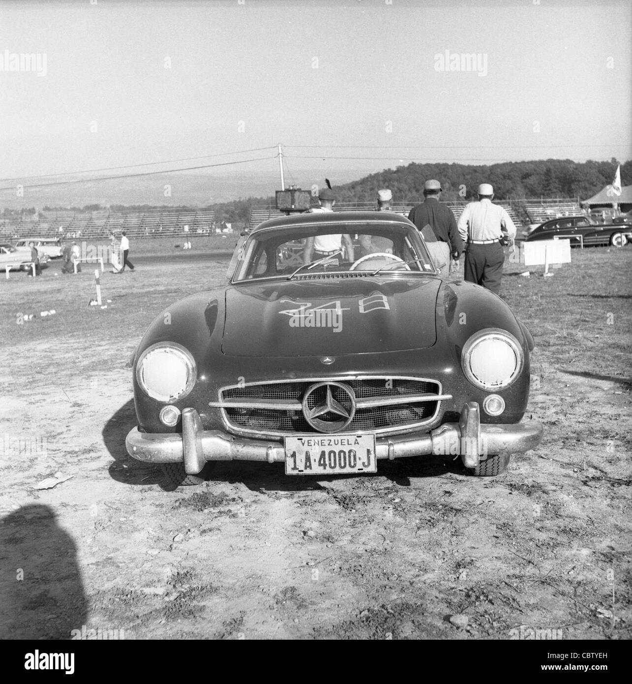 Sports Car Club Of America Races From The Early 1960s Or Late 1950s.  Mercedes Gold Wing
