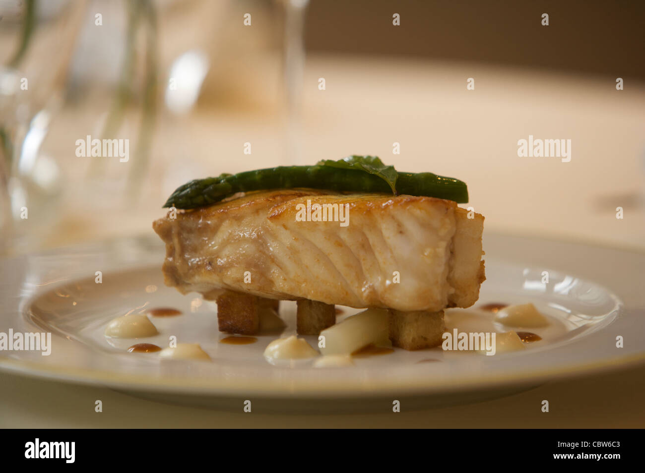 Salmon fish main course served on a table in the two 2 for Fish on main