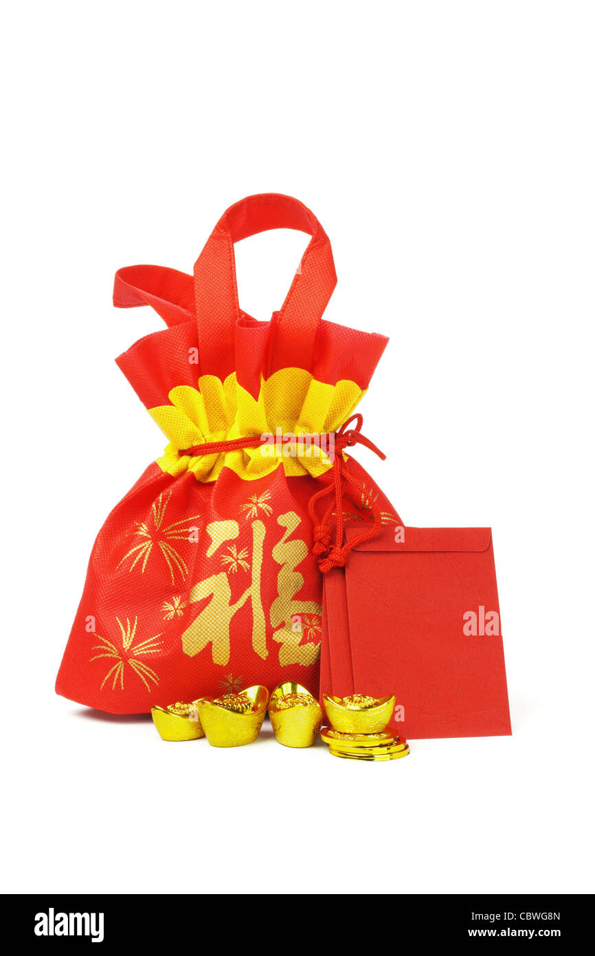 chinese new year gift bag red packets gold ingots and coins on white background - Gifts For Chinese New Year
