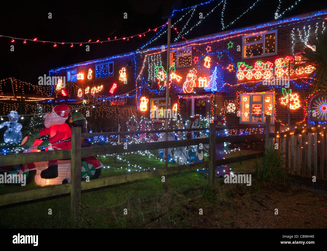 Westfield Christmas Xmas Lights East Sussex Uk Stock Photo