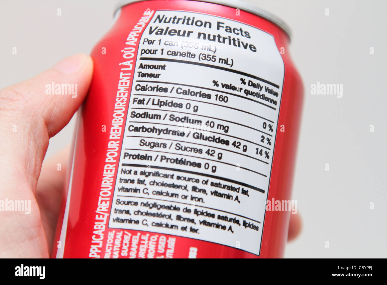 nutrition label coca cola coke can Stock Photo: 41792342 ...