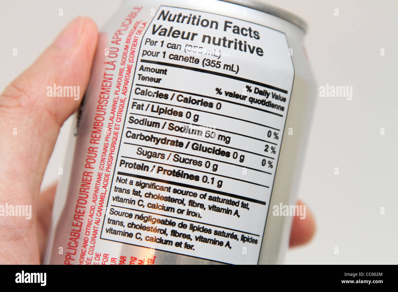 nutrition label diet coke can coca cola Stock Photo ...