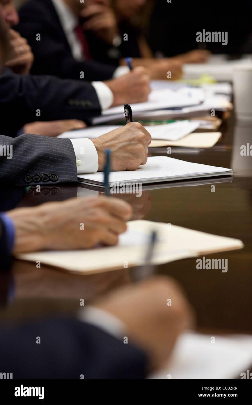 Us Cabinet Secretaries President Barack Obama And Cabinet Secretaries Take Notes During