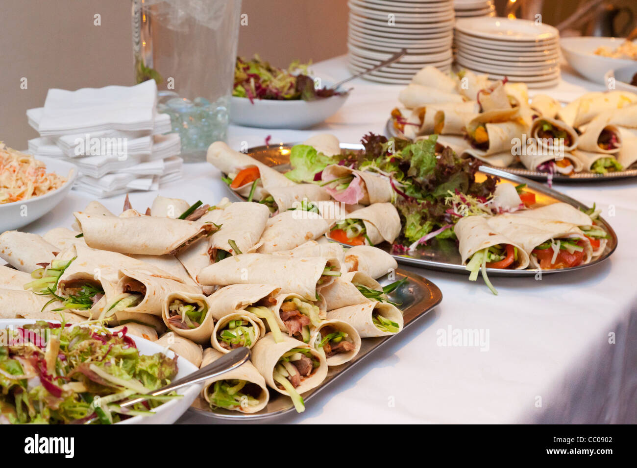 Savory Chinese Pancake Wraps On Buffet Table At A Wedding Reception In The UK