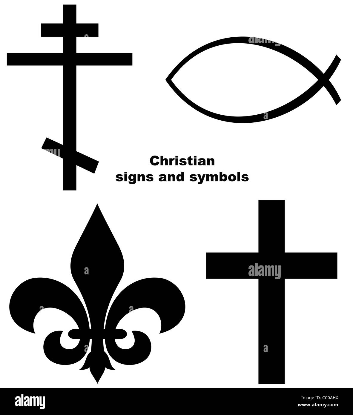 A christian religious icon set with signs and symbols related to religious signs set of christian signs or symbols isolated on a white background stock photo biocorpaavc Choice Image