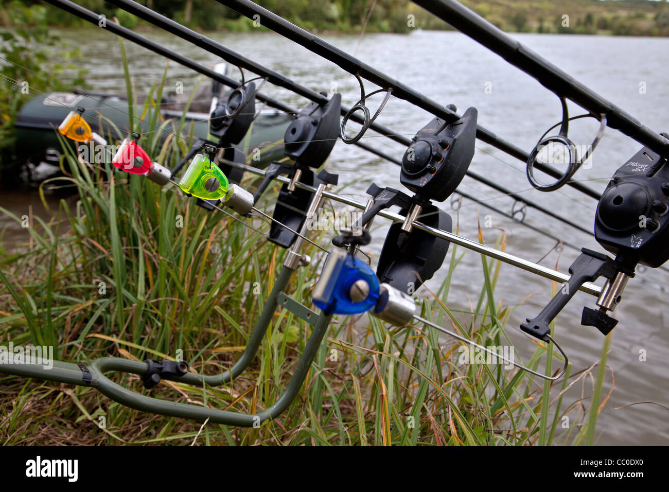 fishing rods set up on the edge of a lake, carp fishing stock, Fishing Reels