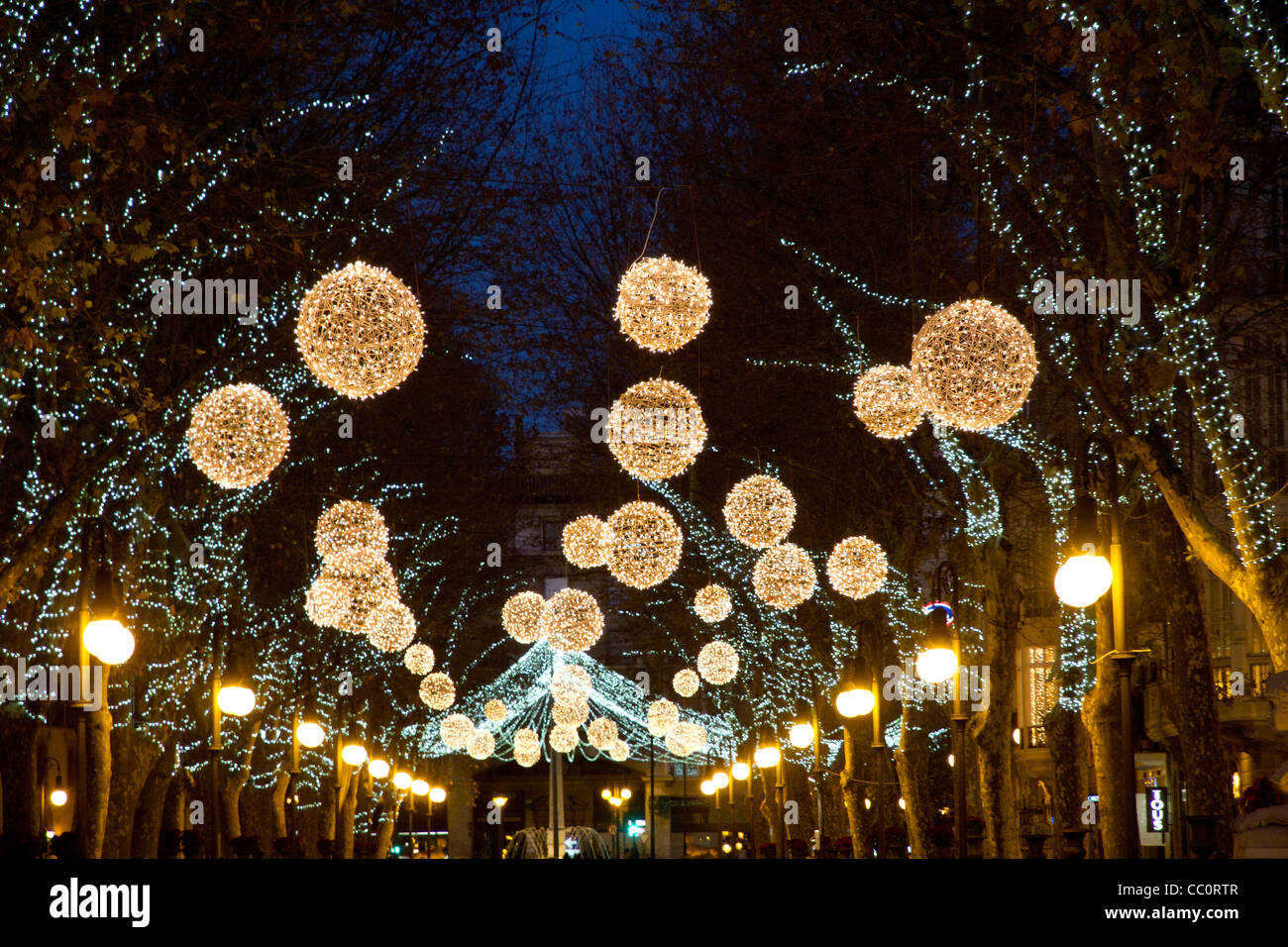 Christmas decorations in street luminous balls lights Hanging christmas lights
