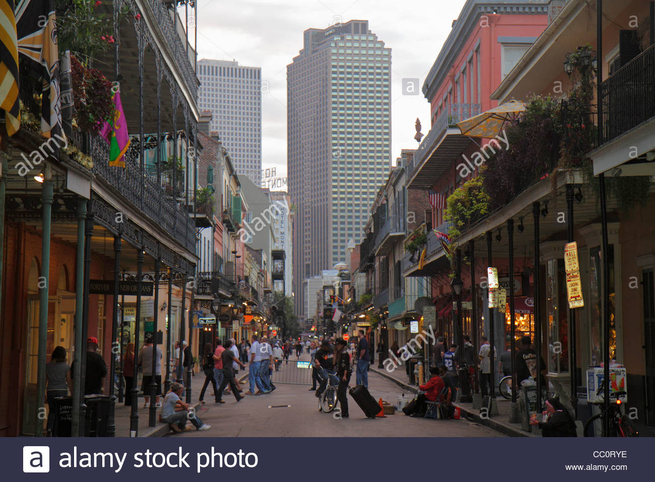 New Orleans Louisiana French Quarter Bourbon Street National Historic Stock P