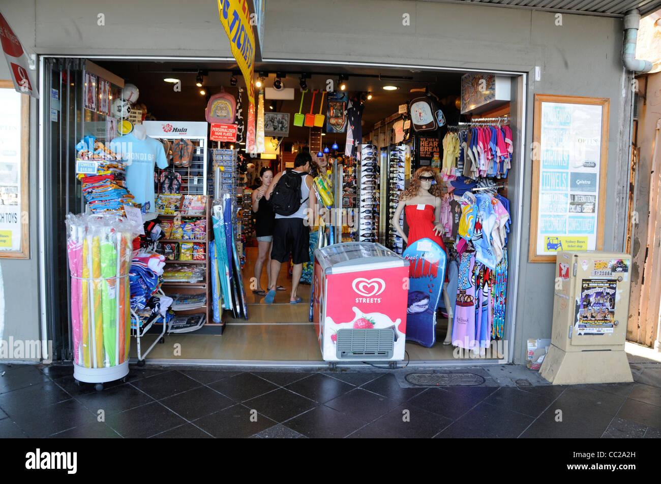 One Of The Many Souvenir Shops On Campbell Parade At Bondi Beach Near Sydney New South Wales Australia