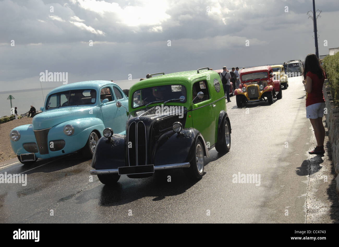Classic Cars Cruise Along The Seafront At Folkestone During The