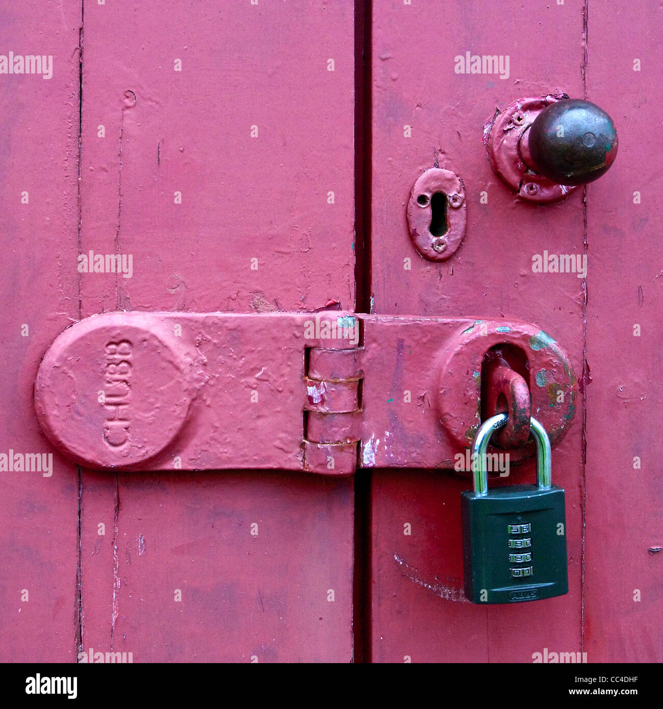 Old Chubb hasp and padlock security locked door & Old Chubb hasp and padlock security locked door Stock Photo ...