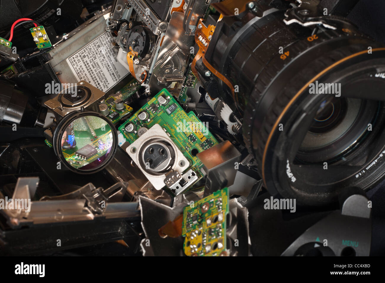Component Parts Of A Broken High Resolution 3 Chip Digital Video Camera With Circuit Board Lens Vga