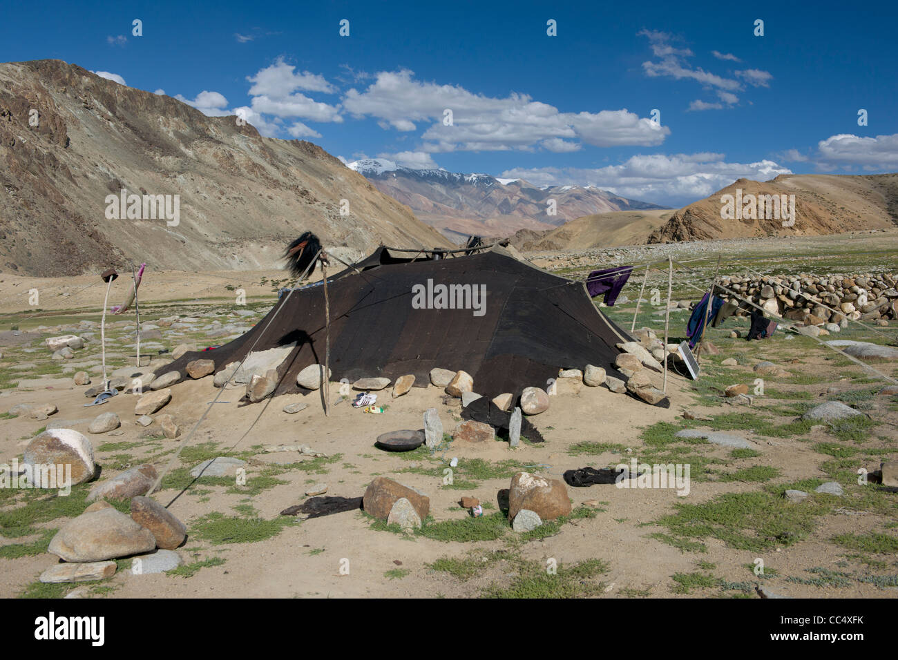 Chang-pa nomad yak-wool tent on the rugged plain above Korzok snow-capped mountains behind Lake Tsomoriri (Ladakh) Jammu u0026 Kashmir India & Chang-pa nomad yak-wool tent on the rugged plain above Korzok ...