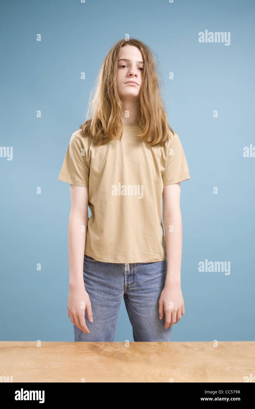 Teen Boy With Long Hair Stock Photo 41912131 Alamy