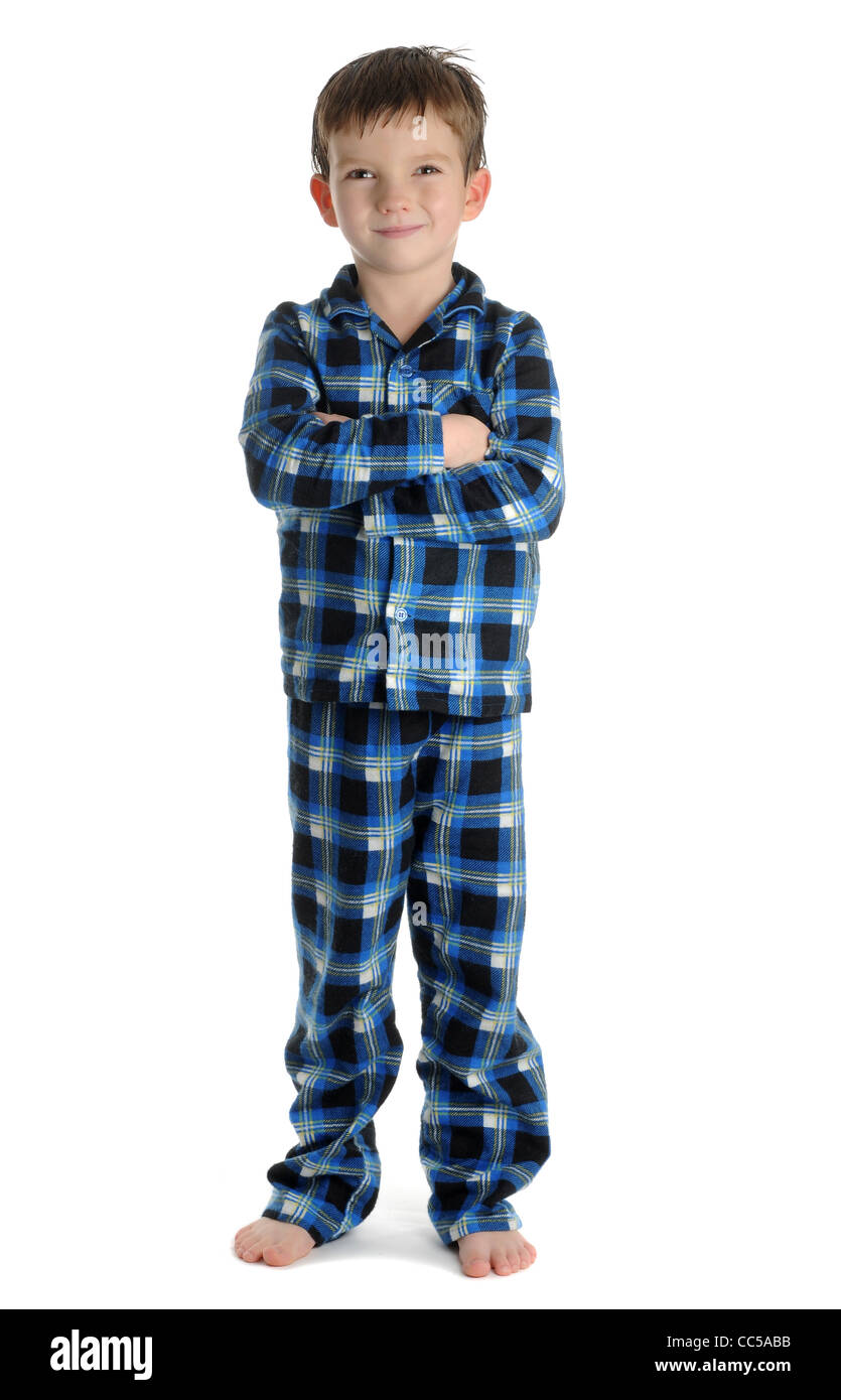 Boy In Pyjamas On White Background Stock Photo Royalty