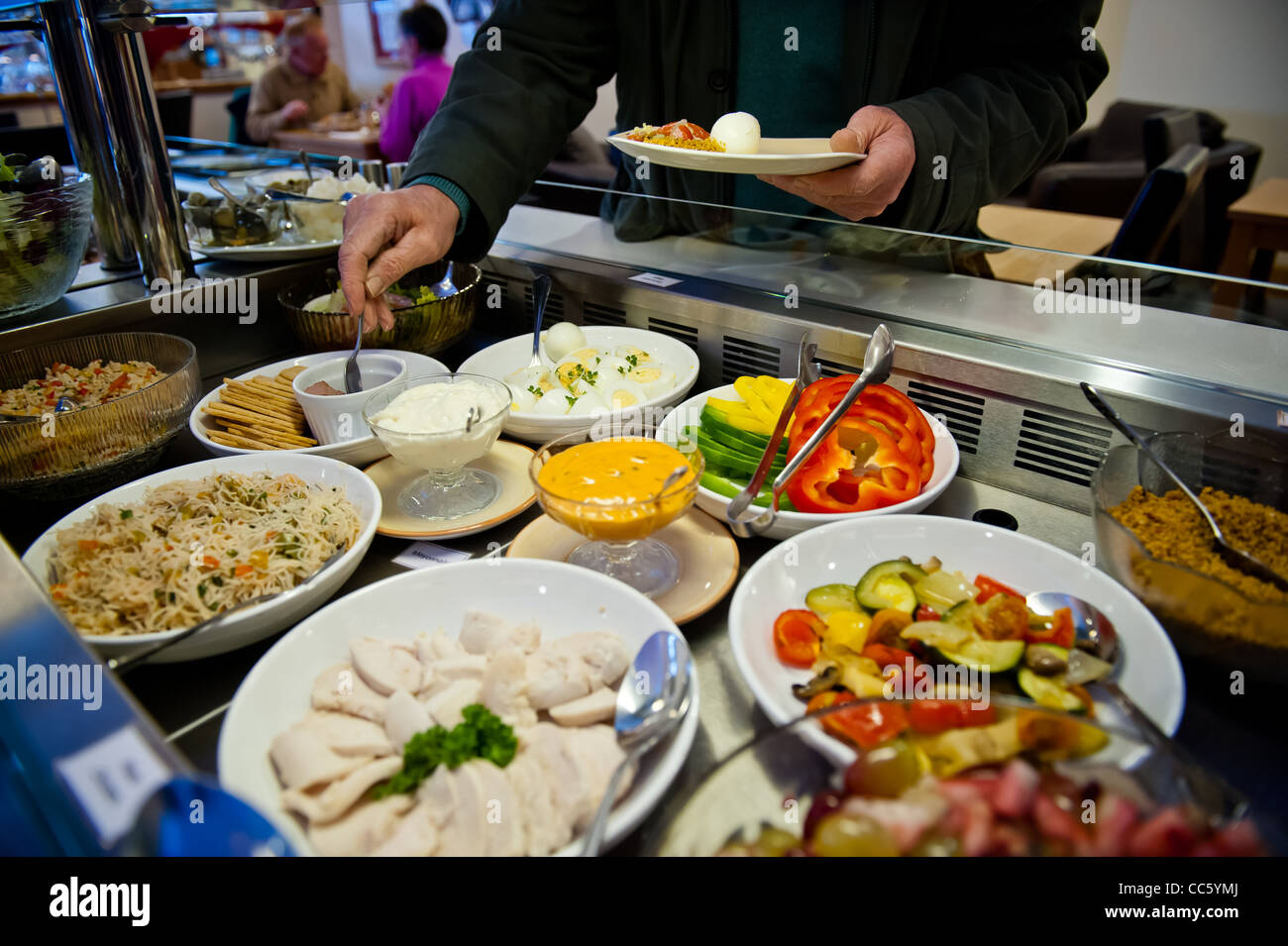 Buffet Counter Of Salad Cold Meats Fruits Rice And Pasta