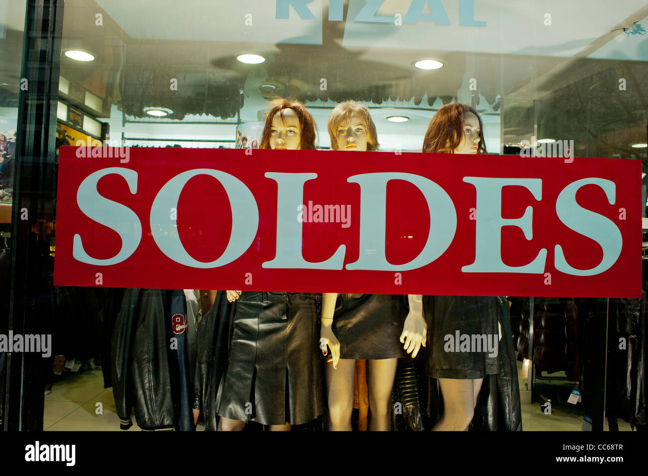 paris france mannequins on display january sales in small stock