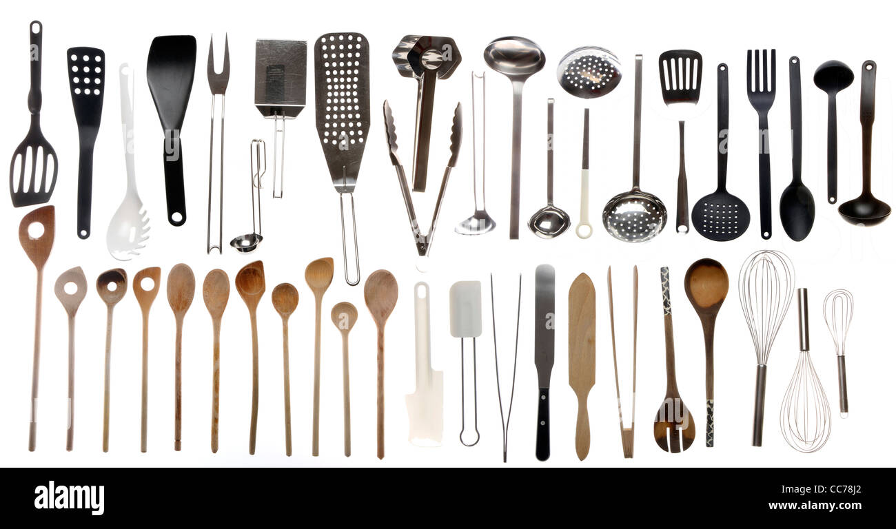 Kitchen Tools And Utensils compilation of various kitchen utensils, kitchen tools stock photo