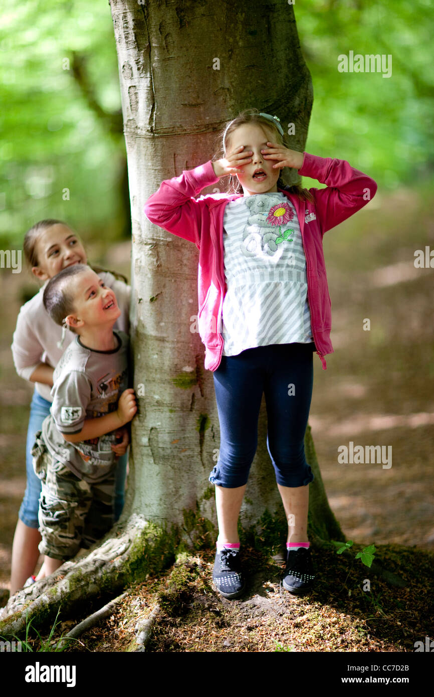 children play a game of hide and seek in the woods stock