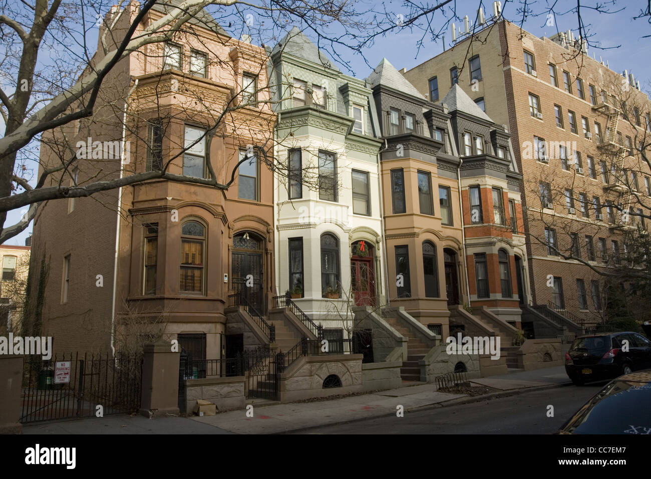 High Stoop Brownstone type homes and apartments, Park Slope Stock ...