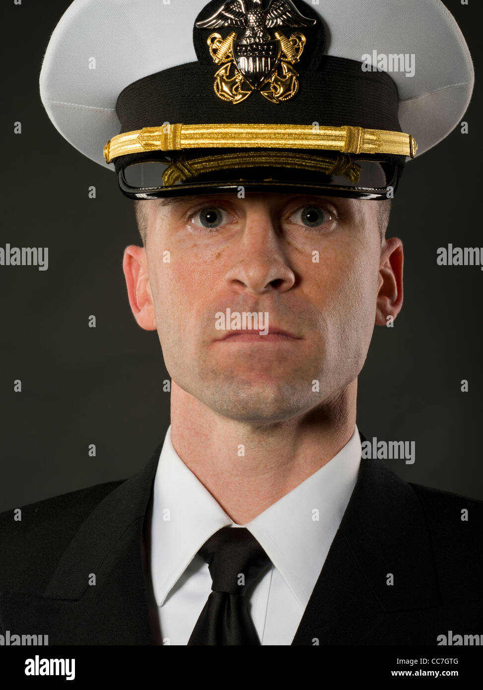 United States Navy Officer in Service Dress Blues Uniform ...