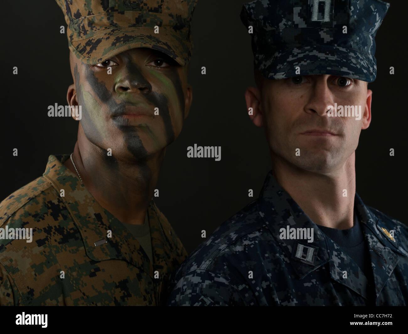 Marine dress blue uniform setup