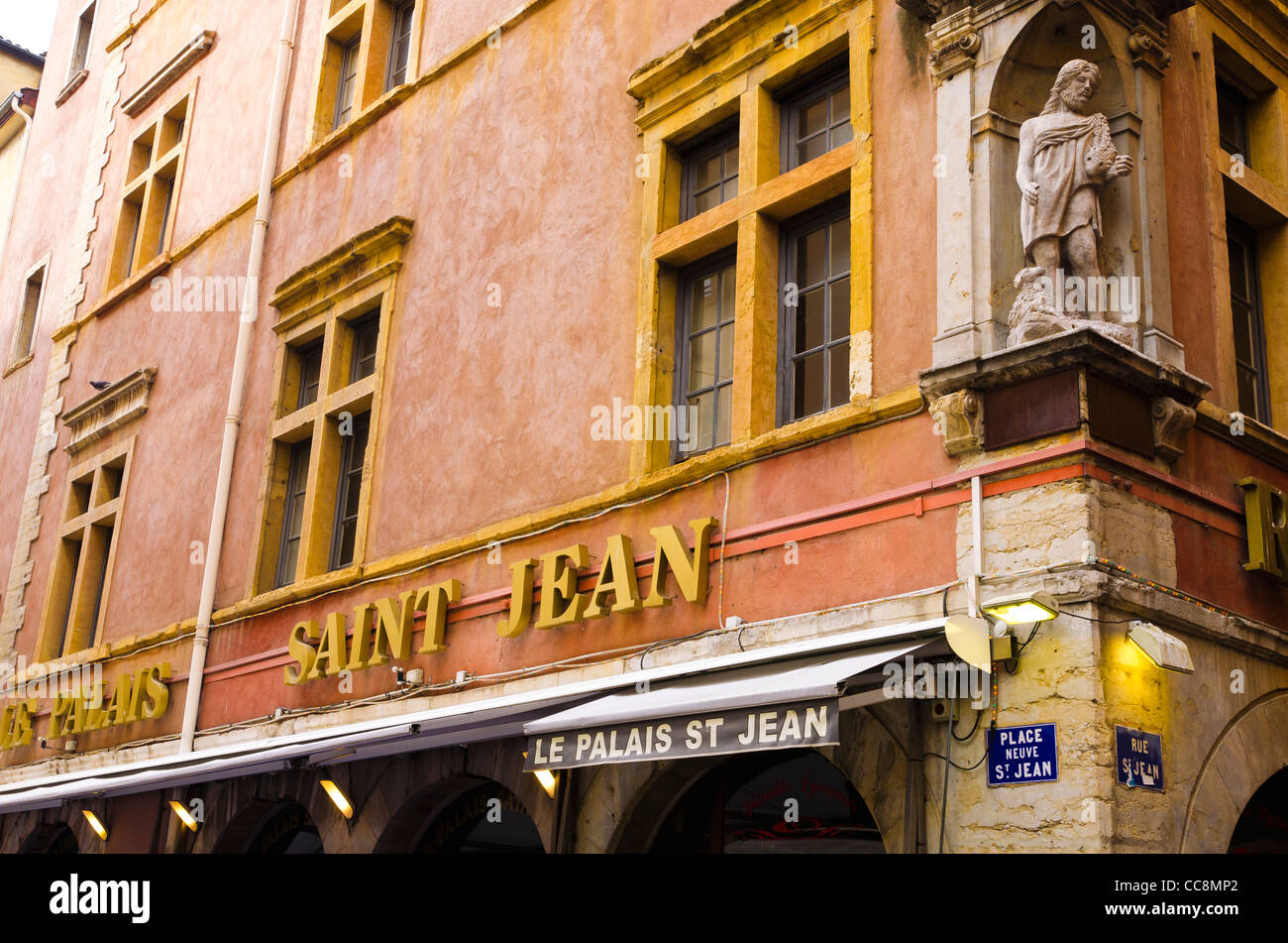 restaurant in old town vieux lyon france unesco world heritage stock photo royalty free image. Black Bedroom Furniture Sets. Home Design Ideas