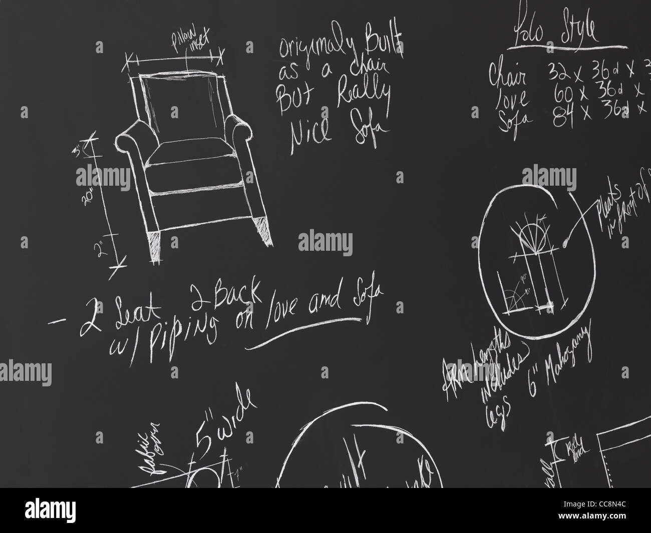 Furniture Design Sketches On A Blackboard Interior Drawings