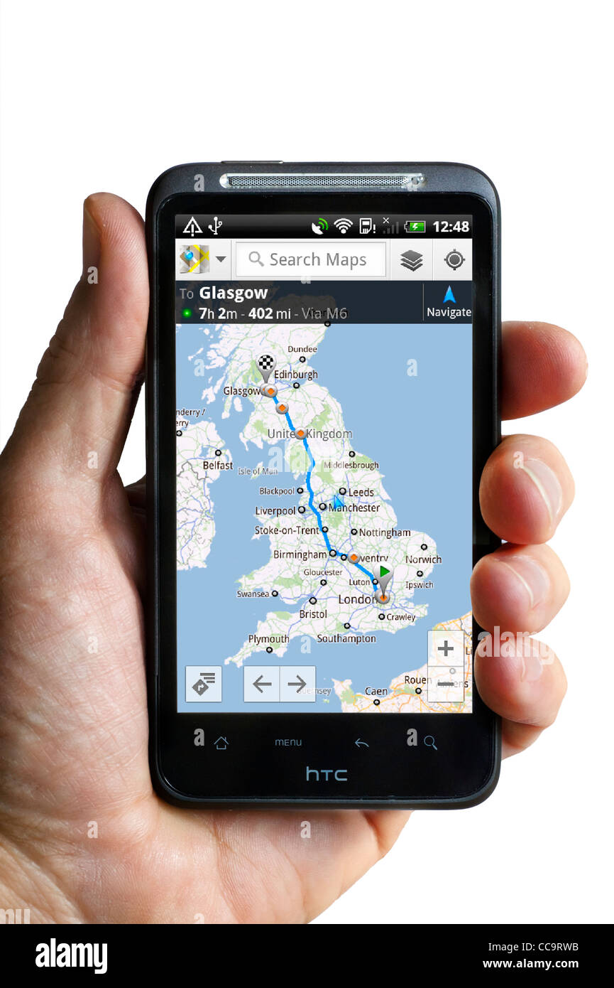 Google Maps Satellite Navigation On An HTC Desire HD Android Stock - Google map hd satellite