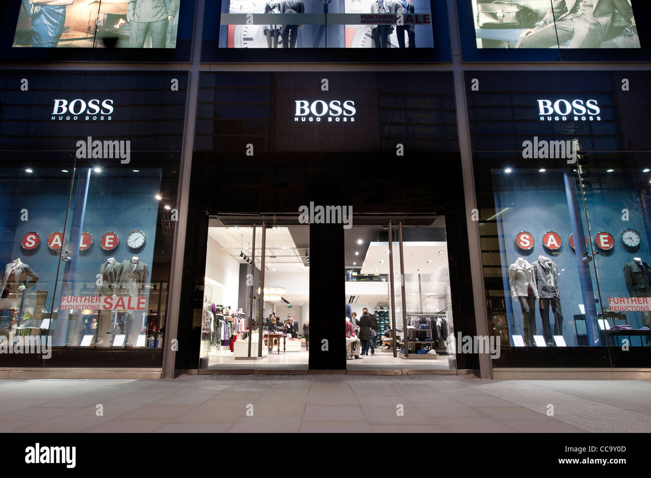 the hugo boss clothing shop located on new cathedral street in stock photo royalty free image. Black Bedroom Furniture Sets. Home Design Ideas