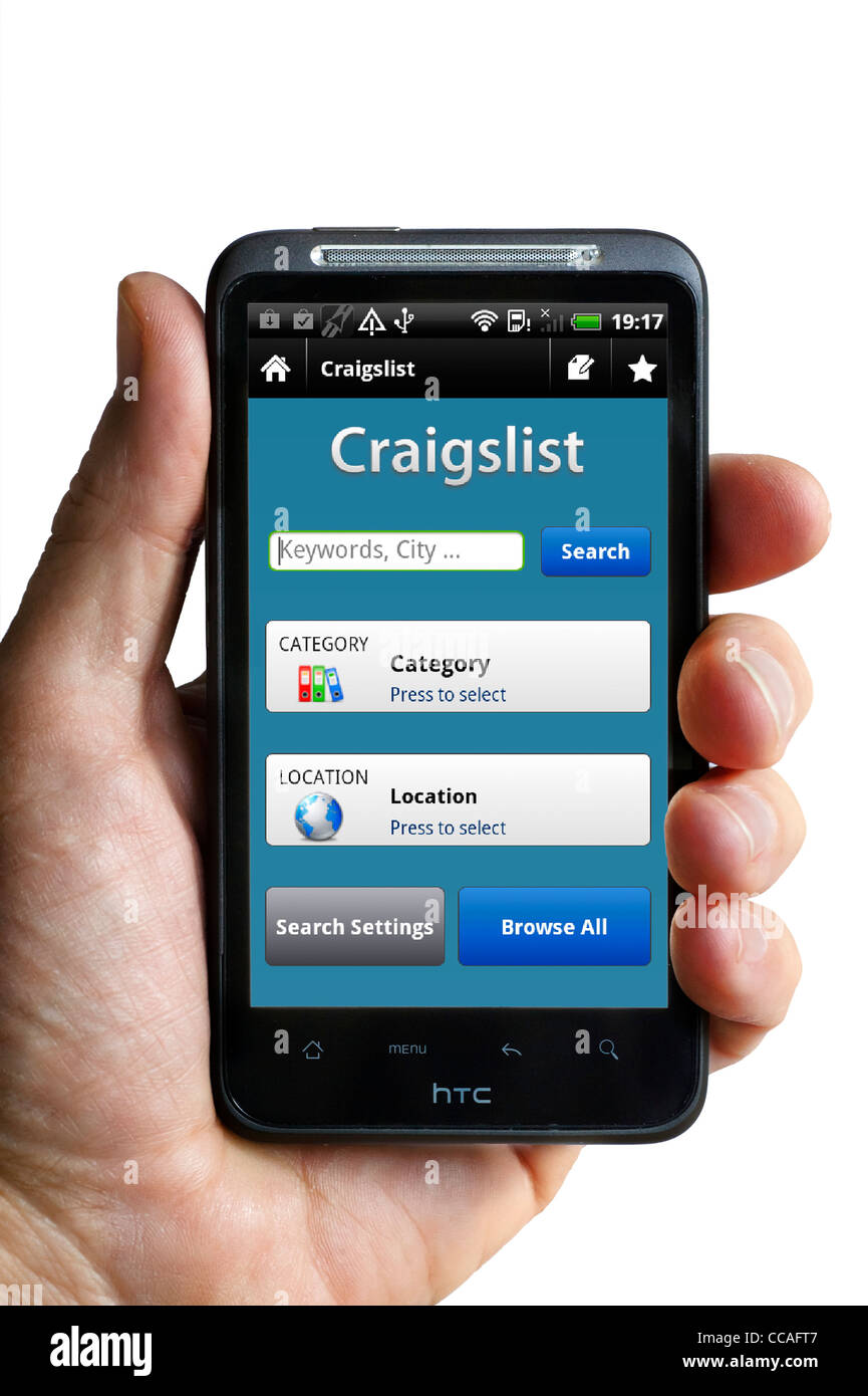 Phone Craigslist App For Android Phone the craigslist android app on an htc smartphone stock photo smartphone