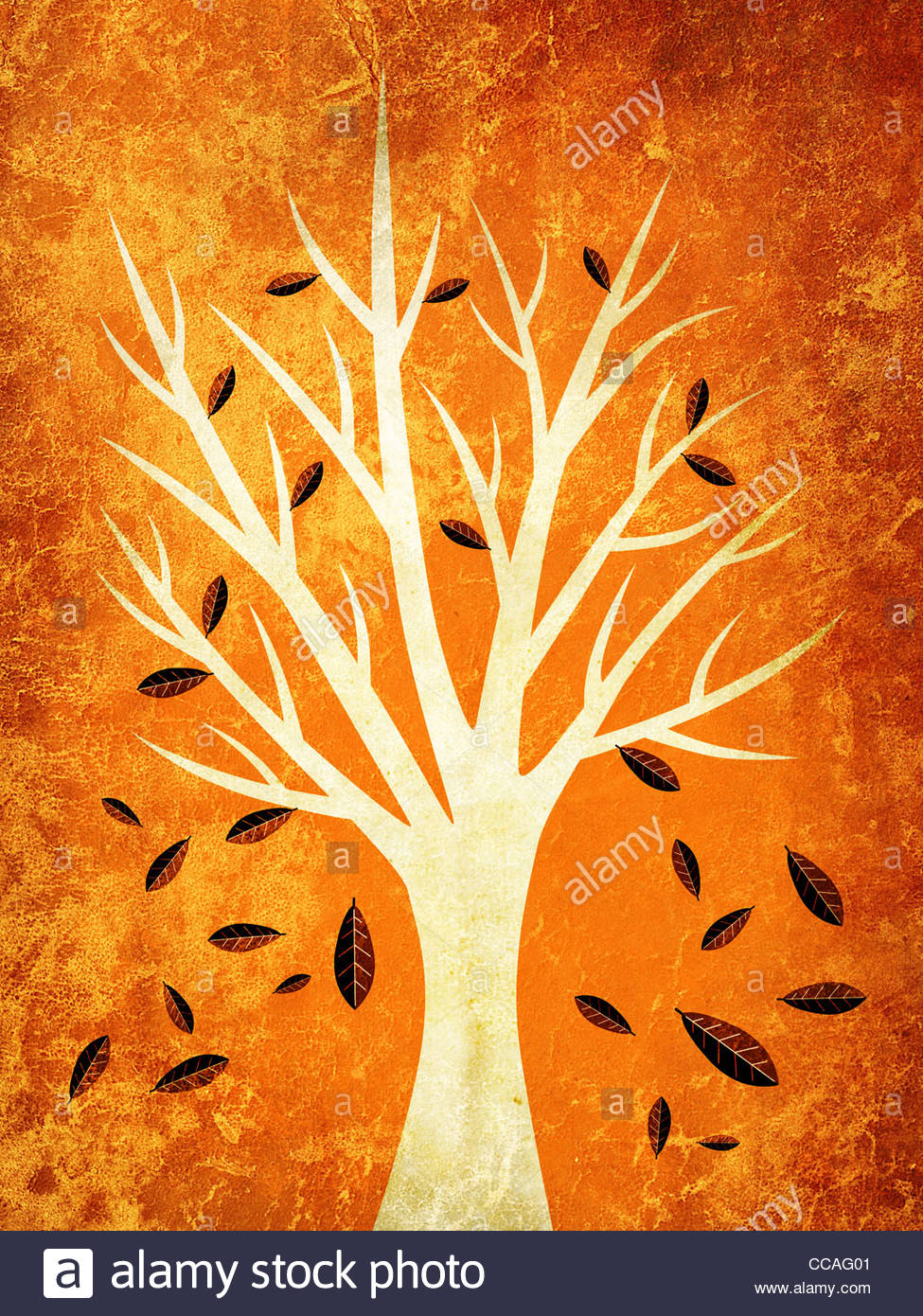 autumn leaves falling from tree illustration stock photo royalty