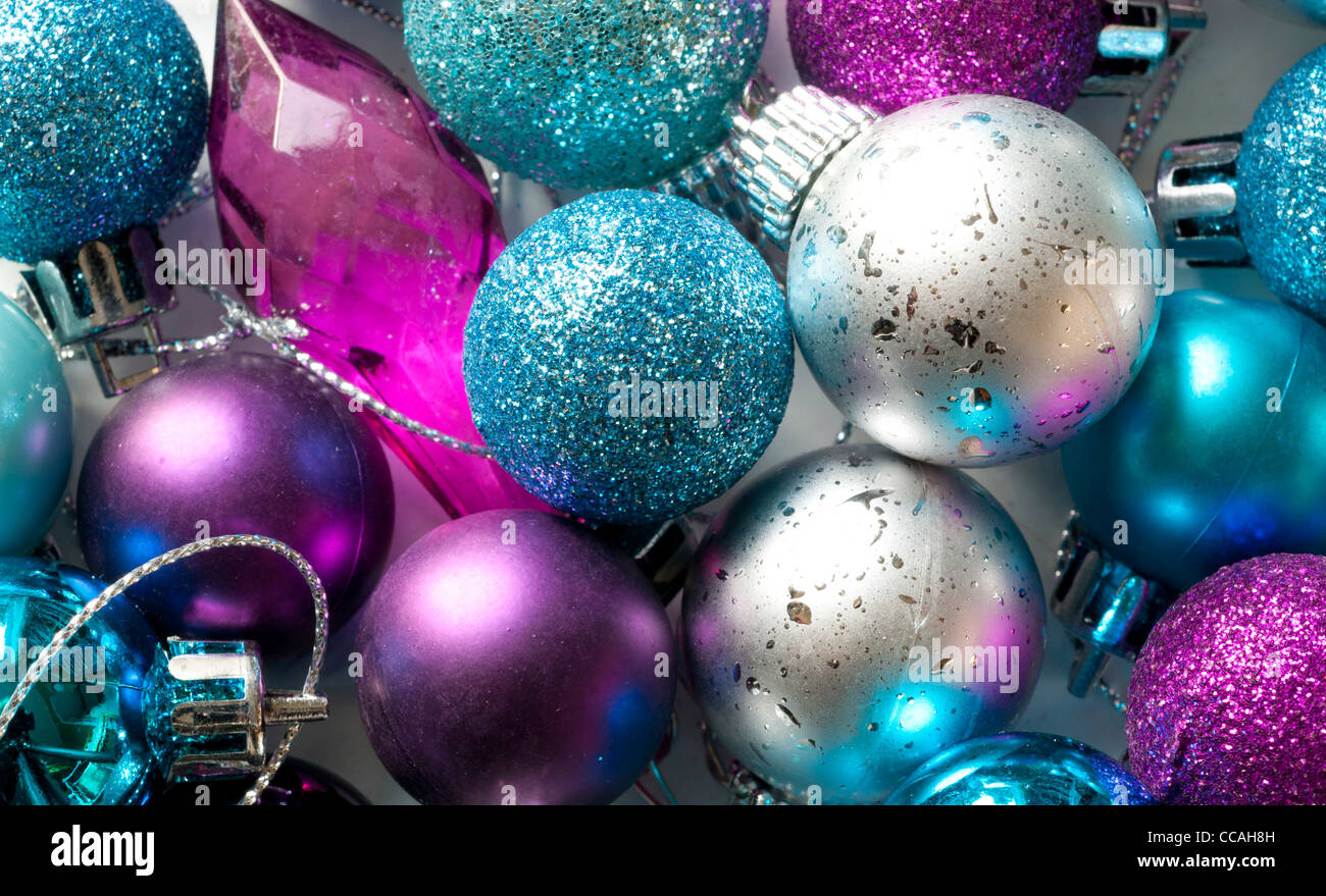 Blue and purple christmas tree decorations - Blue Silver And Purple Christmas Tree Baubles In A Box