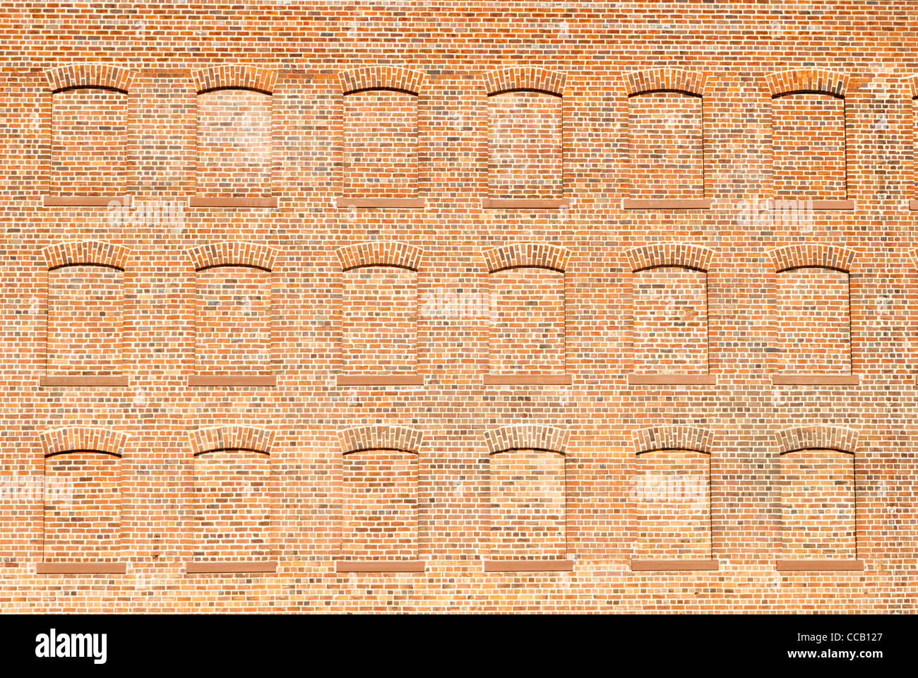 Decorative Traditional Red Brick Wall With Bricked Up Windows