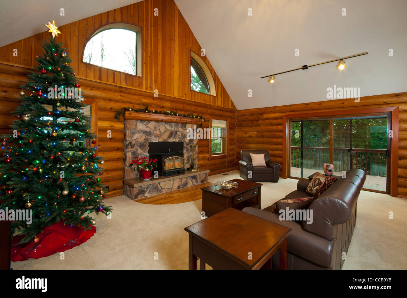 Log Cabin Living Room, Wide Angle View, Showing Fireplace, Stove, And