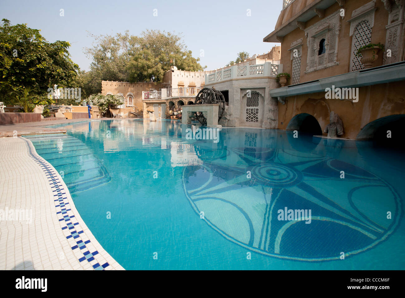 the grounds and swimming pool of the ajit bhawan hotel in jodhpur stock photo royalty free