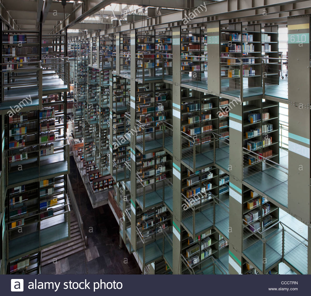 jose vasconcelos library  mexico city  mexico  2007 stock Bookshelves with Library Ladder Bookshelf Home Office Ideas