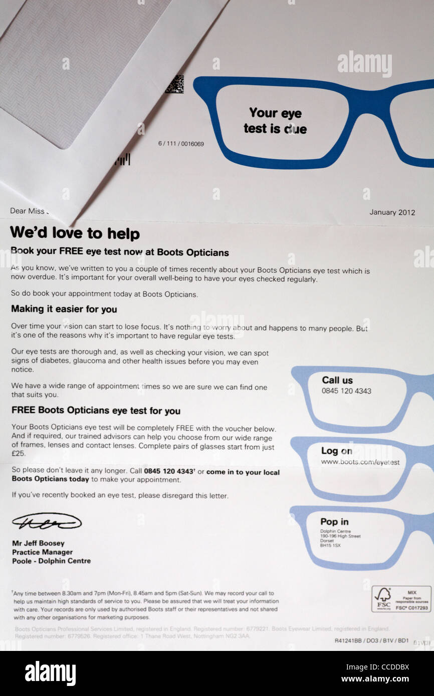 Eye test reminder letter from boots opticians stock photo eye test reminder letter from boots opticians thecheapjerseys Choice Image