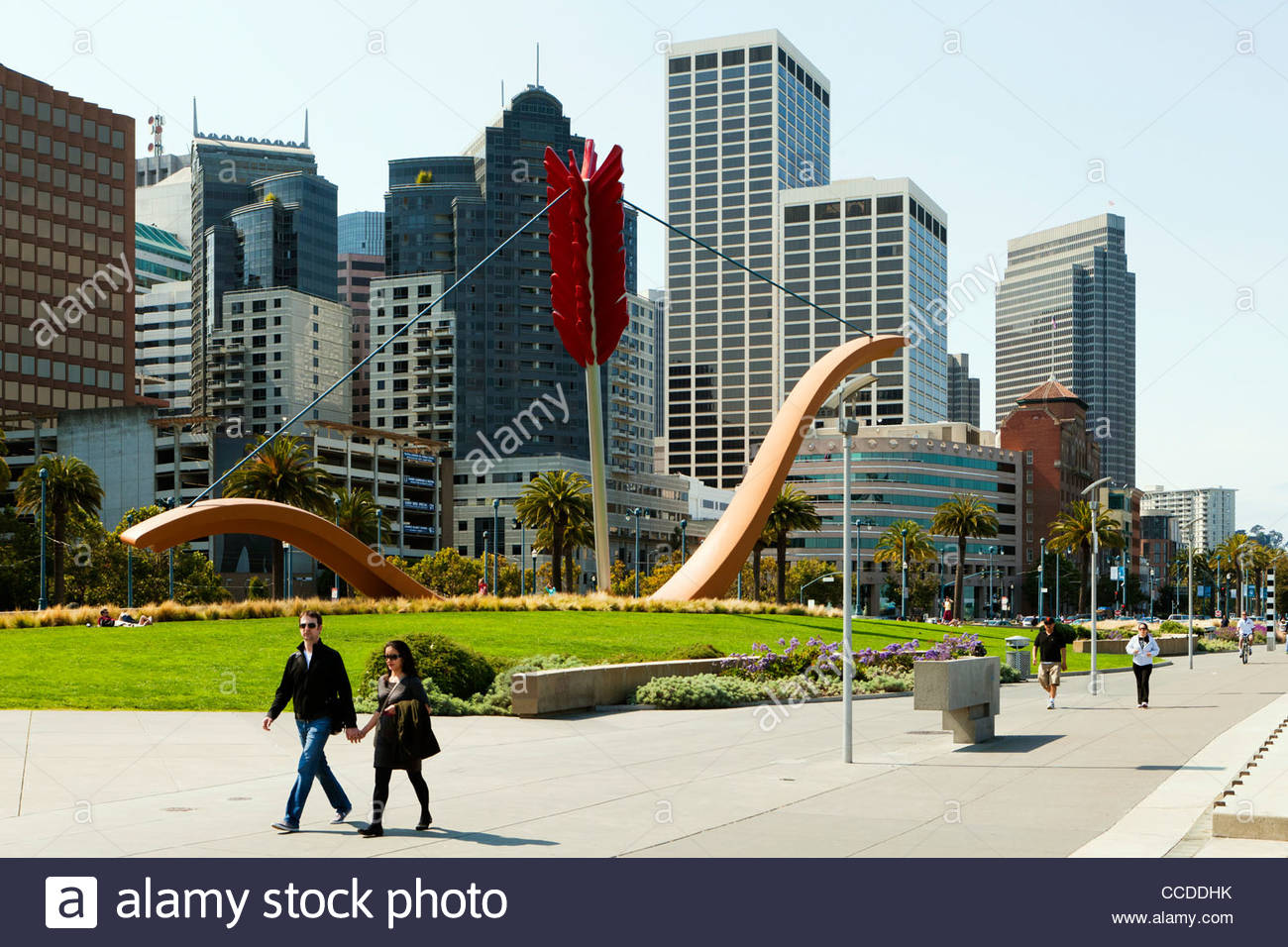 san francisco rincon park and the sculpture cupid 39 s span at the stock photo royalty free image. Black Bedroom Furniture Sets. Home Design Ideas