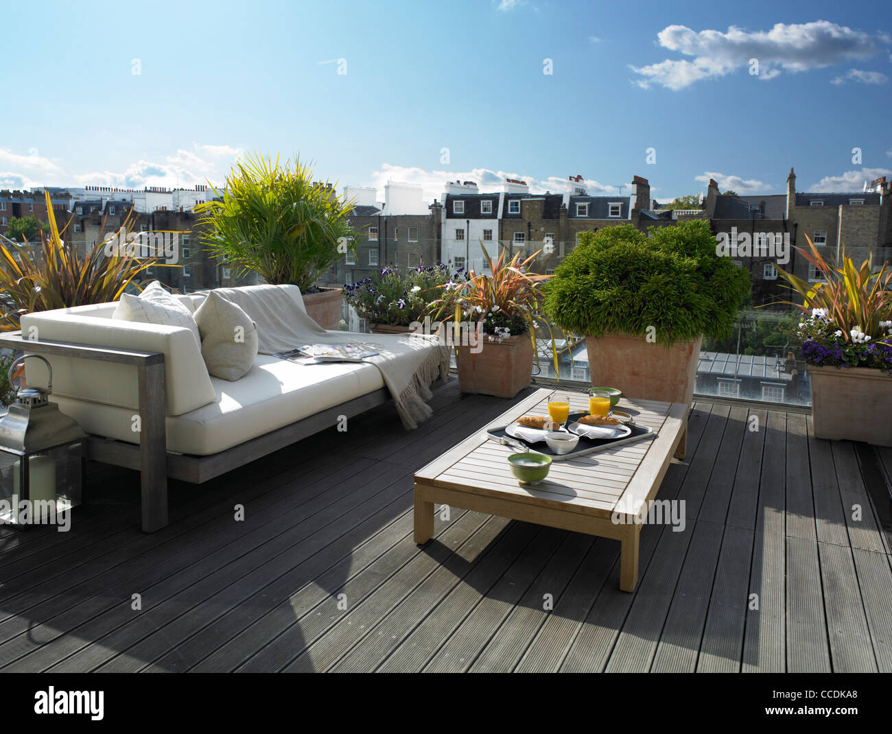 Private penthouse apartment in Belgravia, London. Outdoor terrace adjoining  main bedroom